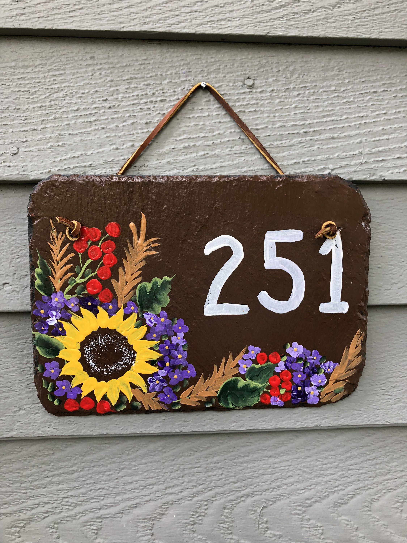 Painted Slate Address Sign Slate Sign Door Hanger House Number Sign Fall Door Decor House