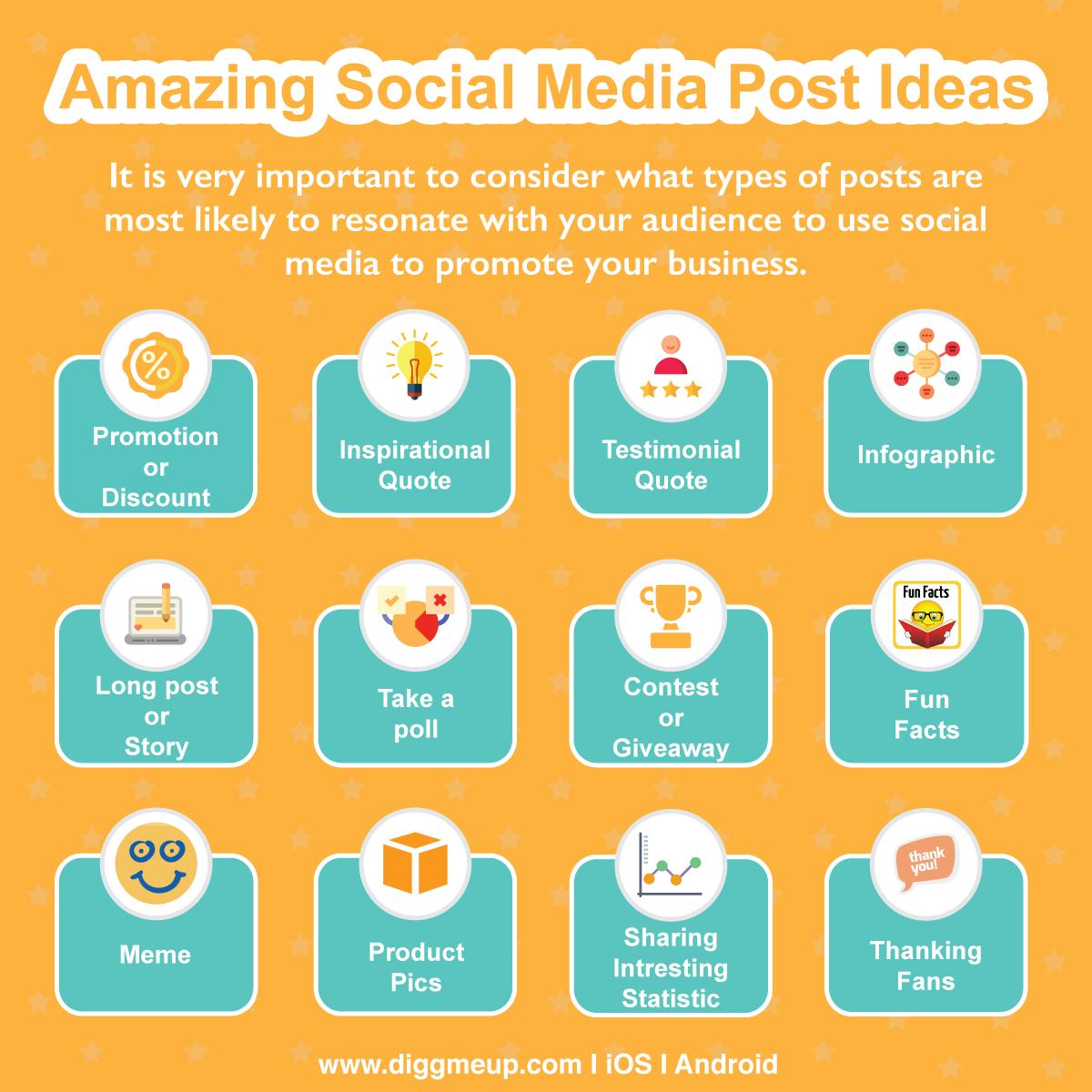Amazing Social Media Post Ideas Socialmedia Smallbiz Marketing Entrepreneur Infographic Business Quote Poll Contest Facts Meme Statistics Testimoni