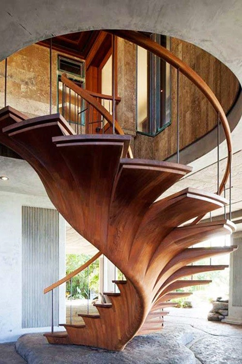 21 Amazing And Inspiring Wooden Stairs - Wooden Lathe Art