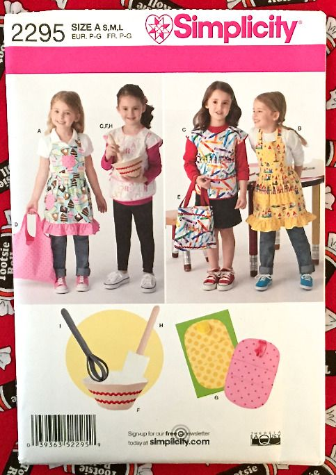 CHILD APRON Sewing Pattern Aprons Smock Tote Bag Potholder Bowl Wisk ...