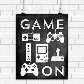 Video Game Printable Art Typography Game Controllers Black White ...