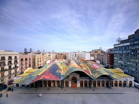 The Roof of the Santa Caterina Market in Barcelona, Spain
