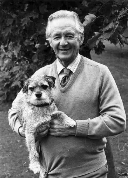 Alf Wight Known As The Author James Herriot With His Border