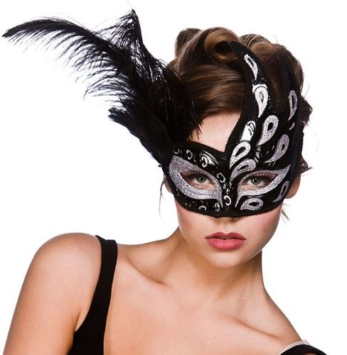 MASQUERADE JEWELLED SWAN EYE MASK FEATHERS womens ladies fancy dress accessory