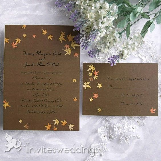 17 Best images about Fall Wedding Invitations – Purple Fall Wedding Invitations