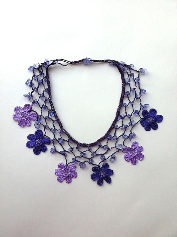 Photo of Purple / Lilac Handmade – Flowered Bib Necklace – Crochet Beaded Necklace w/ Natural Stone – Gifts For Her