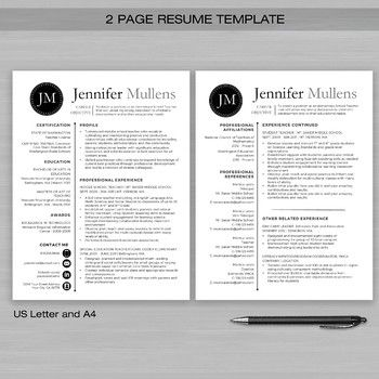 RESUME TEACHER Template For Word and Apple Pages -The Jennifer Blk - apple pages resume templates