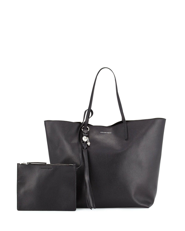 99da827cf8 Black · Skull Open Leather Shopper Tote Bag ...