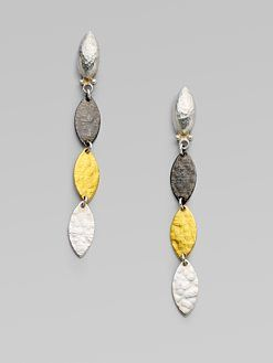 Sterling Silver Layered with Blackened Silver and 24K Gold Willow Earrings by GURHAN