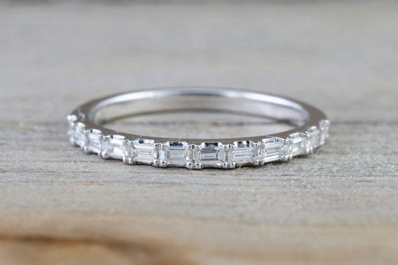 14k White Gold Dainty Thin Baguette Cut Rectangle Diamond Band Stackable Design Classic
