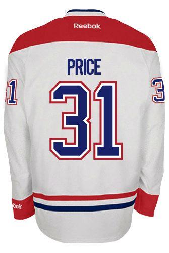 Montreal Canadiens Goalie Carey PRICE  31 Official Away Reebok Premier  Replica NHL Hockey Jersey (HAND SEWN CUSTOMIZATION) 9a3224697