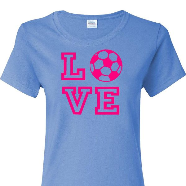 Love Soccer on a Light Blue Short Sleeve Ladies Cut T Shirt