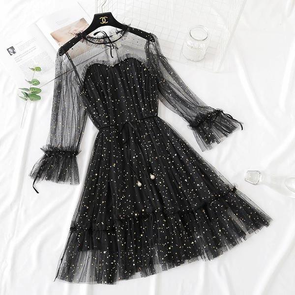 5 Colors Fairy Paillette Lace Tulle Dress K13539