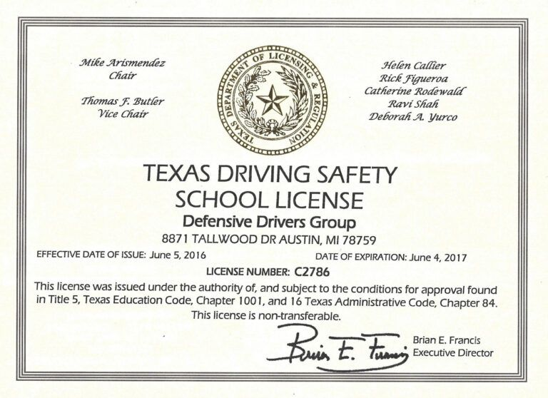 Online Defensive Driving Course Texas With Printable with