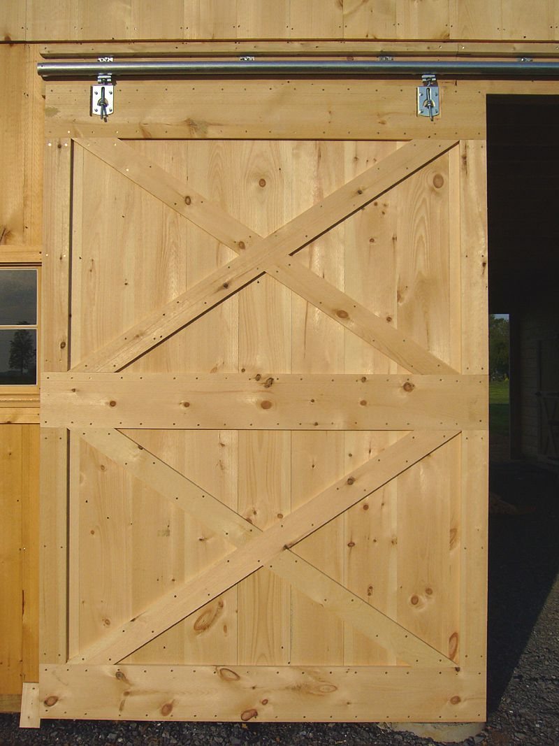 Free sliding barn door plans from diy for Exterior shed doors design