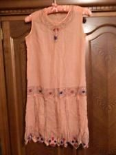 VINTAGE 20's AMAZING SEMI SHEER PEACH FLAPPER DRESS W/ BEADING. RARE! S