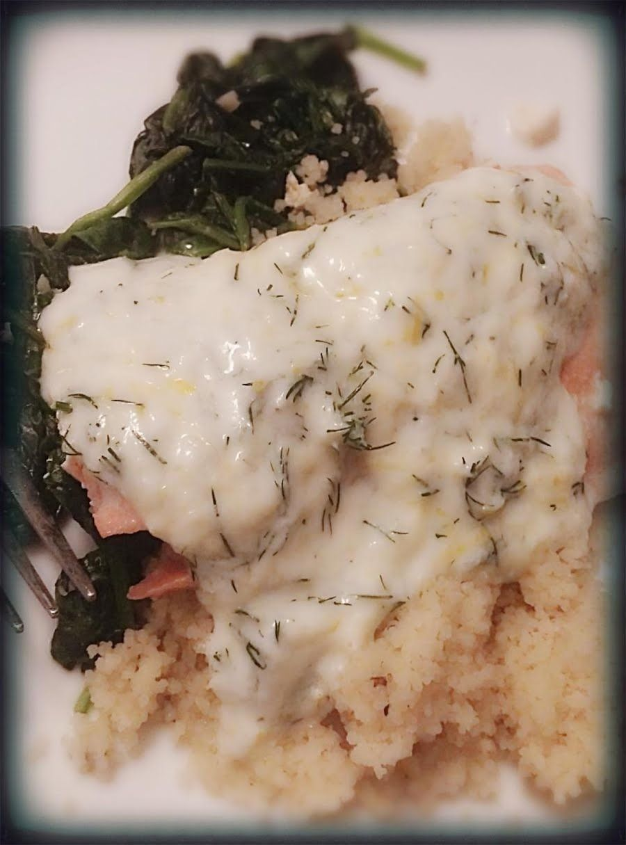 Salmon and Spinach with Dill and Lemon Sauce -  Salmon and Spinach with Dill and Lemon Sauce night
