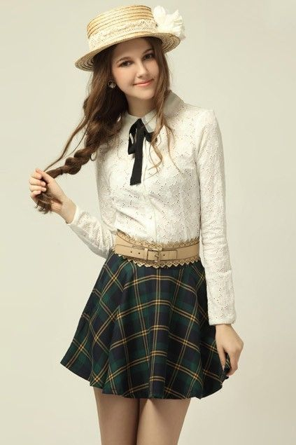 Classic Preppy Style Fanshaped Check Skirt Oasap High Street Fashion Casual Preppy Look