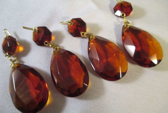4 amber crystal prisms 38mm 2 part amber chandelier crystal prisms 4 amber crystal prisms 38mm 2 part amber chandelier crystal prisms with top bead amber glass crystals aloadofball Choice Image