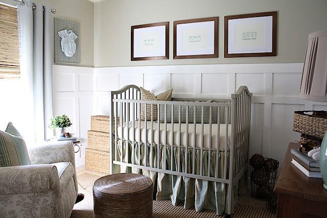 grey crib, tan walls, board and battan, #nursery