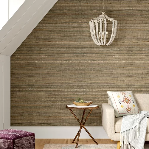 """Clément 24' x 36"""" Fine Seagrass Pearl Coated Wallpaper in"""