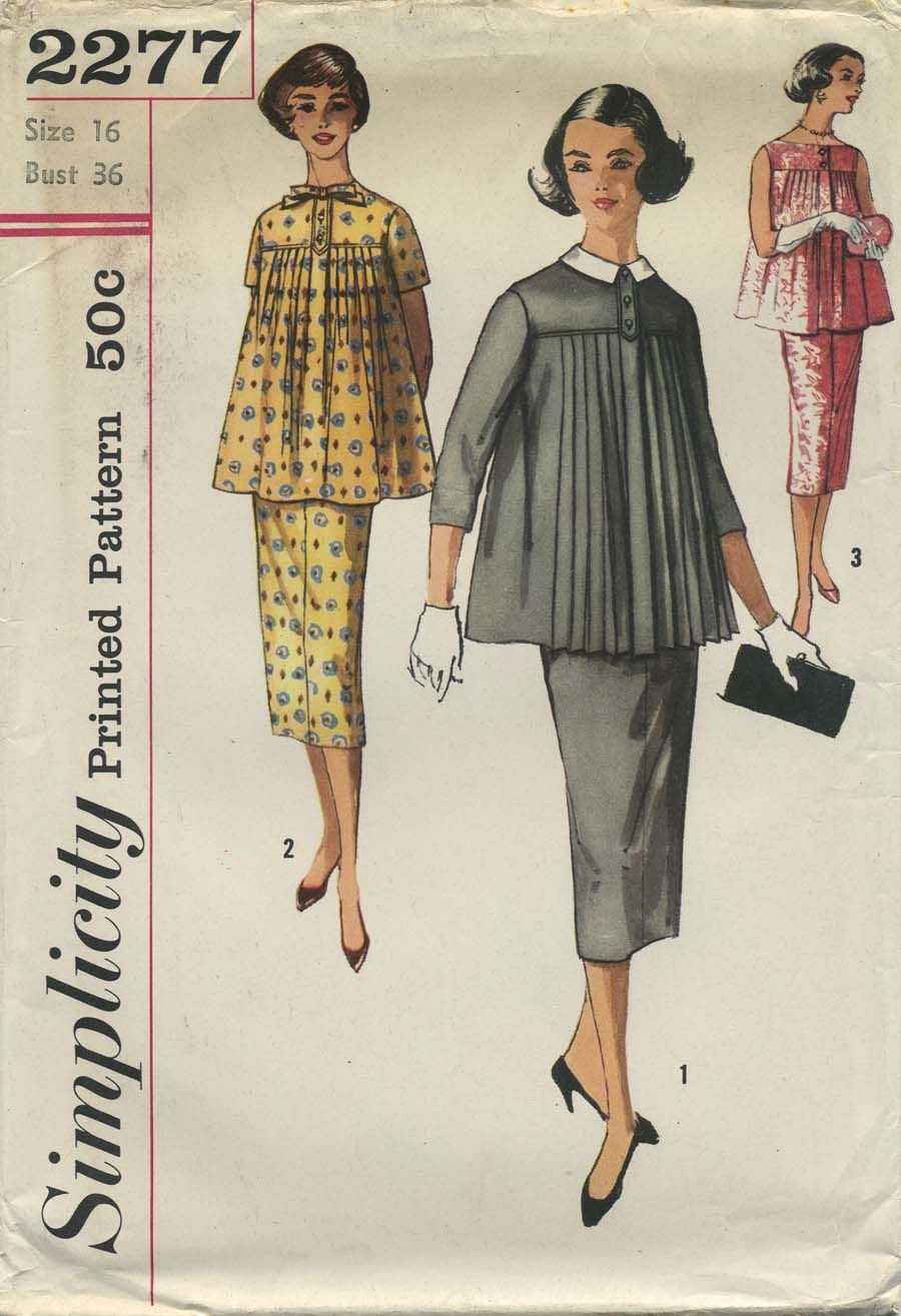 Vintage Sewing Pattern | Two-Piece Maternity Dress | Simplicity 2277 ...
