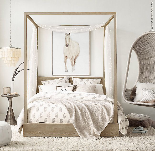 Callum Platform Canopy Bed With Headboard Off White Bedrooms