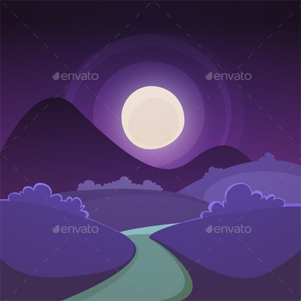 Night Cartoon Landscape Night Landscape Landscape Background Cartoon Illustration