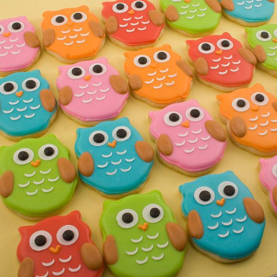 baby shower Owl Cookies MINI SIZE baby owls  2 dozen by TSCookies on Etsy, $24.00