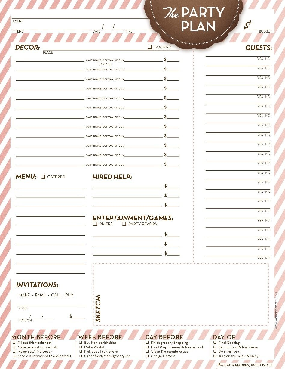 event planning checklist including pre event to do list decor menu