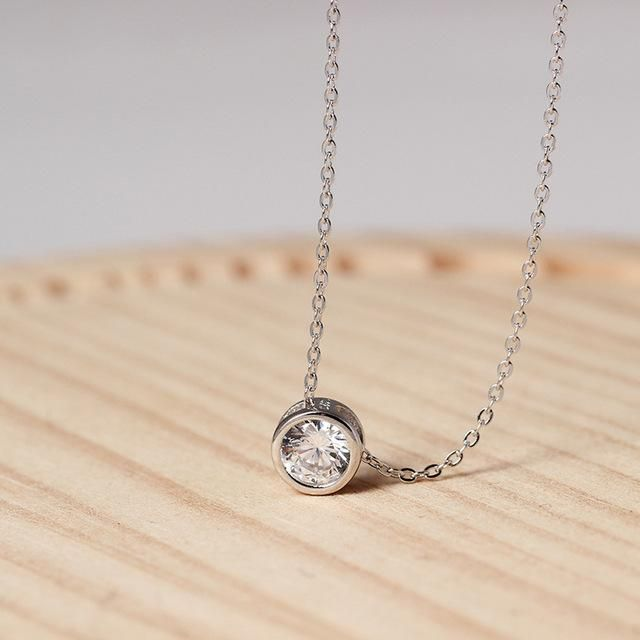 925 Sterling Silver -Dazzling Zircon Necklace And Invisible Transparent Link Chain Simple Pendant