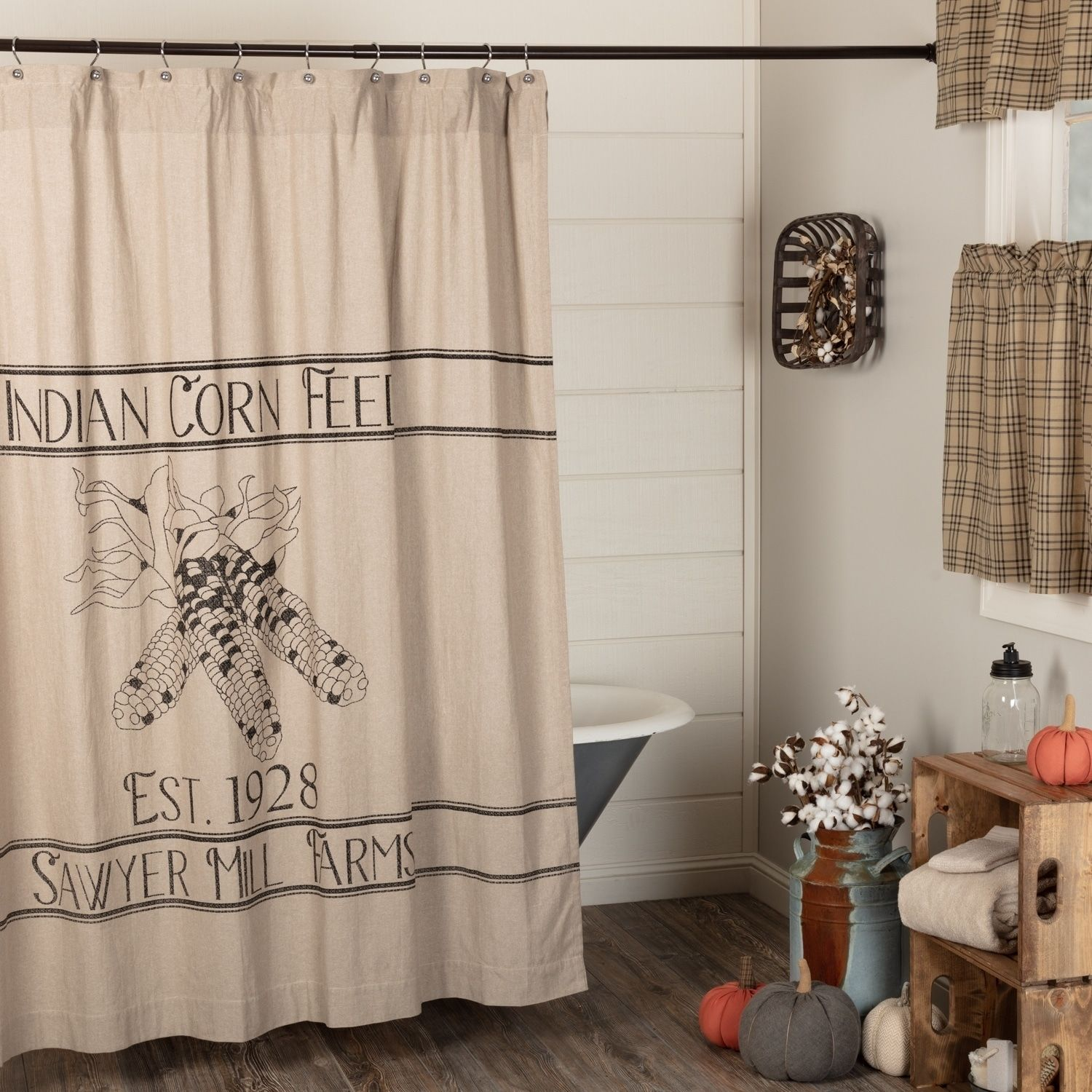 Sawyer Mill Charcoal Corn Feed Shower Curtain Black Vhc Brands