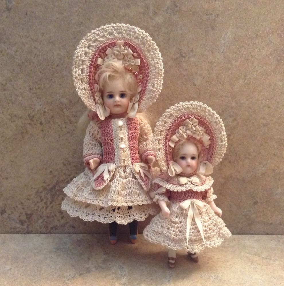 VICTORIAN STYLE CROCHETED DRESS SET FOR A 5-5 1/2 ALL BISQUE DOLL*by Tina #dollvictoriandressstyles