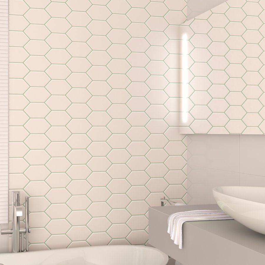 Banheiro Com Revestimento Branco E Rejunte Verde Linha Chez Moi