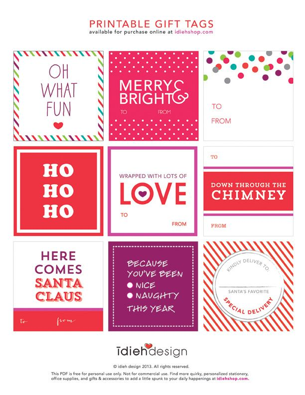 Free printable gift tags holiday gift tags holidays and gift free bold festive holiday gift tag printables idieh design negle Gallery