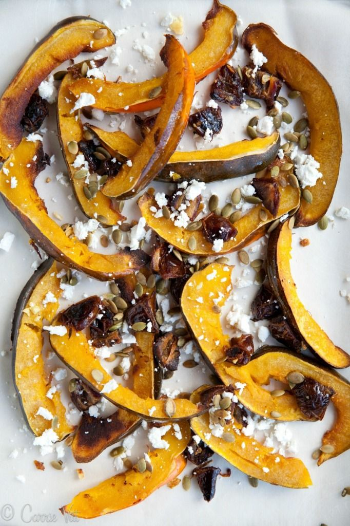 Roasted Acorn Squash With Dates Pumpkin Seeds And Goat Cheese