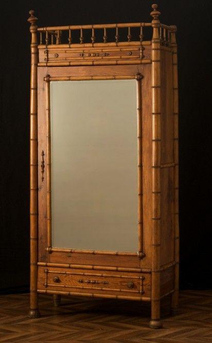 Armoire Vintage Meubles Anciens Armoire Ancienne En Bambou Pieces Uniques Annees 1920 Mobilier De Salon Bambou Armoire Ancienne