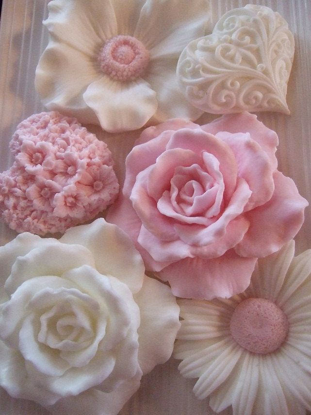 pink and white hand soaps, Etsy.