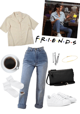 Monica Geller Outift #4  #monicageller #monica #90s #friends #friendstvshow #grunge #adidas #coffee #tumblr #momjeans #cute #pretty #effortless #anaiese #rachelgreenoutfits