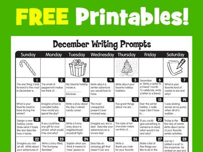 december writing prompts from lakeshore learning december resources pinterest lakeshore. Black Bedroom Furniture Sets. Home Design Ideas