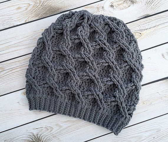 Crochet  Slouch Hat Beanie Open Weave- Child Teen Adult Size