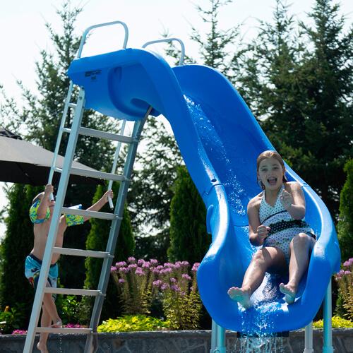 S R Smith 610 209 5823 Rogue2 Pool Slide With Left Curve Marine Blue Inground Pool Slides Above Ground Pool Slide Swimming Pool Slides