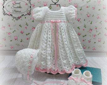 Baby Girls Silk Crochet Baptism / Christening / Blessing Dress, Bonnet, Booties, Headband / Ecru or White