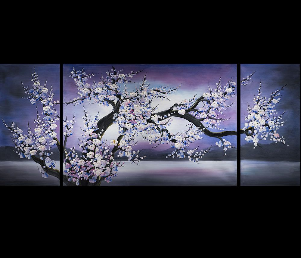3 Piece Purple Cherry Blossom Muti Panel Abstract Modern: MODERN CONTEMPORARY ABSTRACT OIL PAINTING Chinese Feng