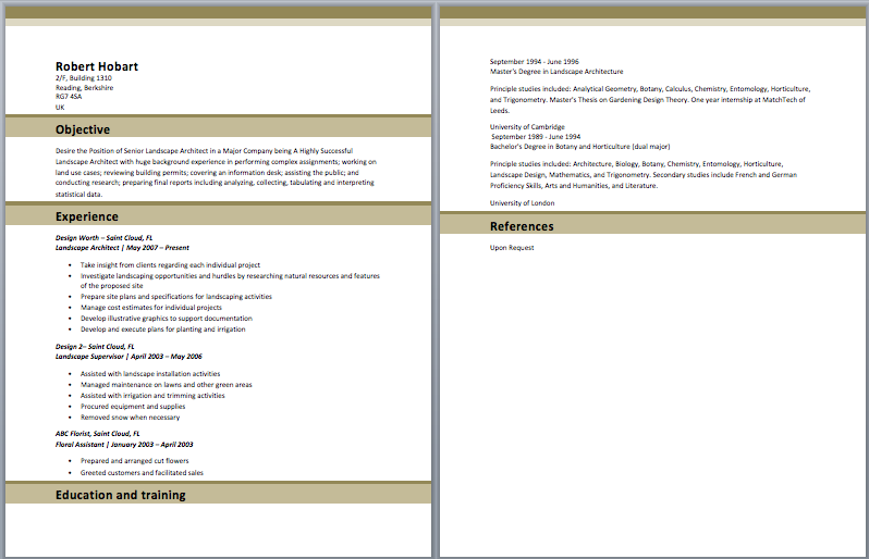 Landscape Architect Resume Architect resume, Architect
