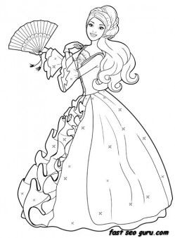 Printable Barbie Princess Dress Colouring Book Pages Printable
