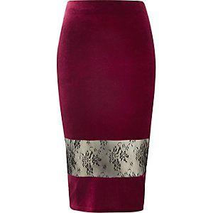 fdd456ad9c Dark red velvet lace panel pencil skirt | Skirts to sew | Burgundy ...