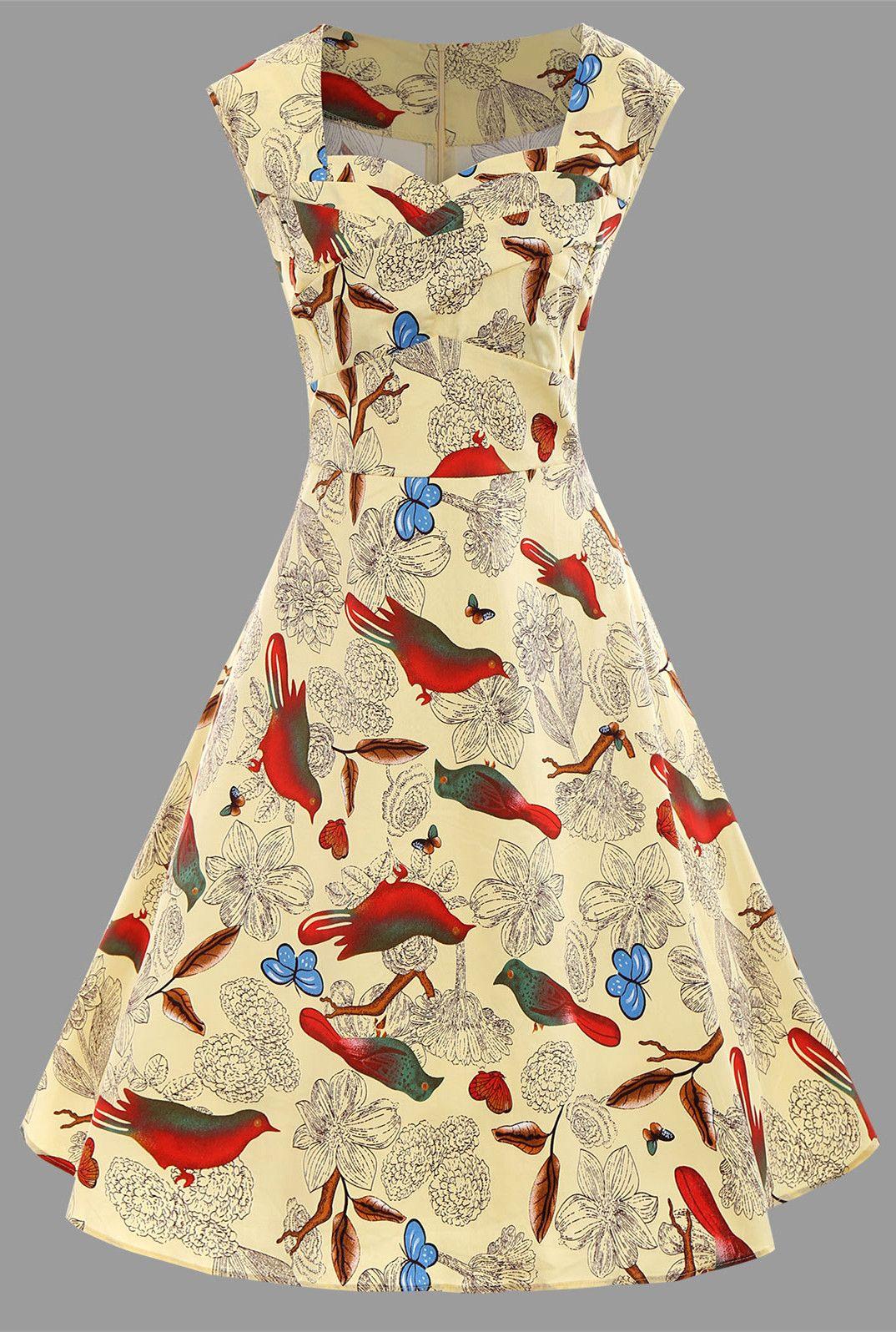 Floral Bird Print Plus Size A Line Dress - Yellow - 3xl