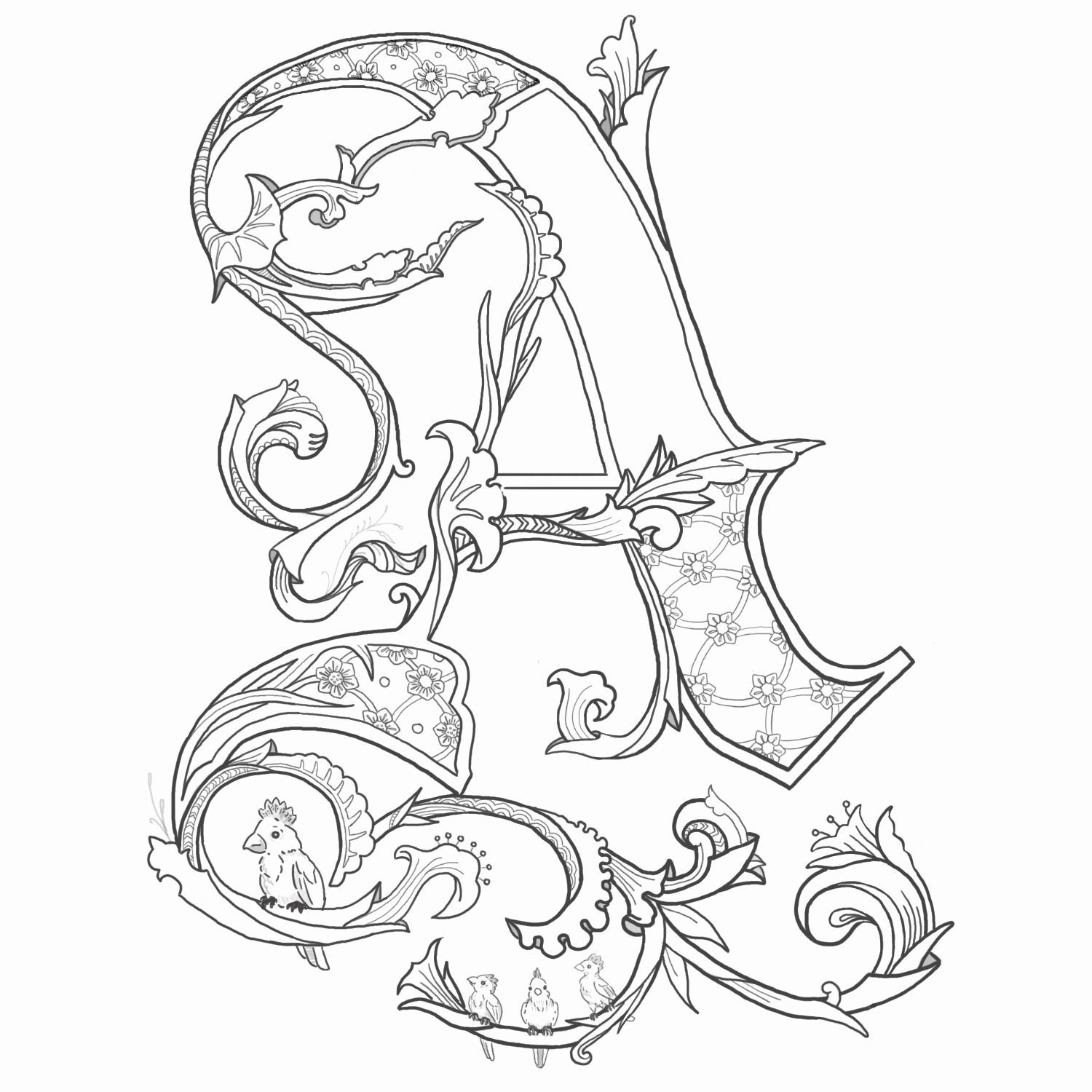 Printable Alphabet Coloring Pages Elegant Alice Stanne Illuminated