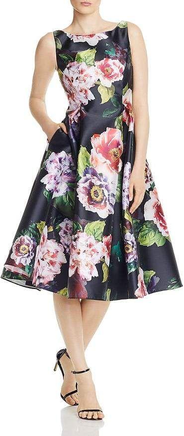 Adrianna Papell Mikado Floral Print Dress Women Bloomingdale S Floral Print Dress Print Dress Dresses